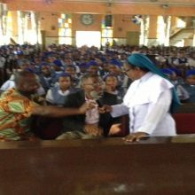 Azuka Receives blessings from Rev. Sister before inspiring 2000 Nigeria Students