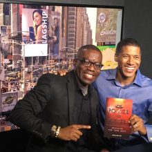 "Azuka promoting ""The Power to Excel"" book with ARISE TV network Producer in Manhattan New York"