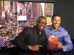 """Azuka promoting """"The Power to Excel"""" book with ARISE TV network Producer in Manhattan New York"""